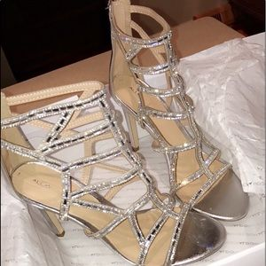 Silver sparkly caged heels
